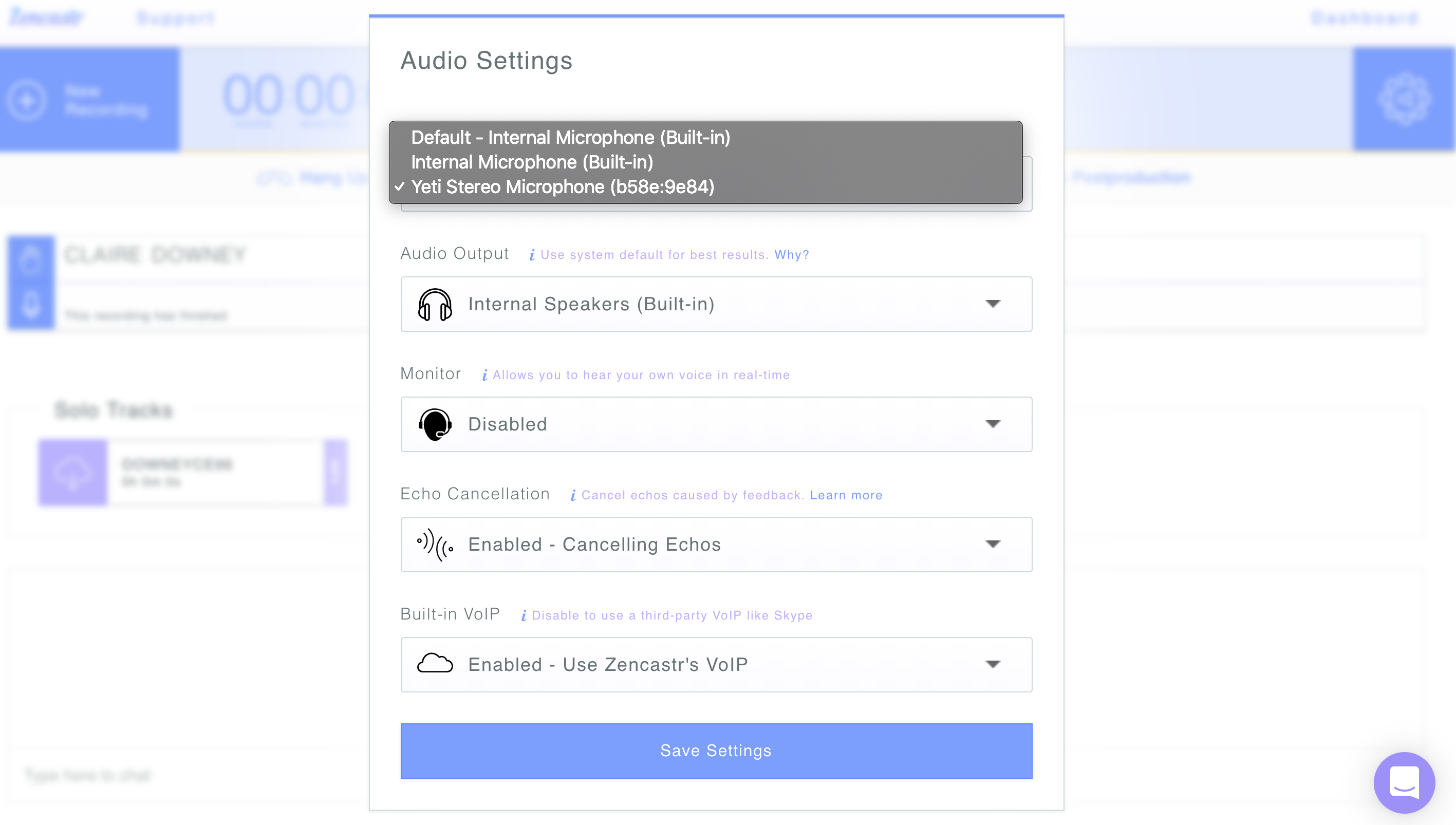 Screenshot of settings